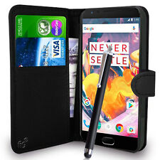 Black Wallet Case PU Leather Book Cover For OnePlus 3 3T Mobile Phone
