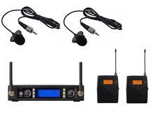 Wireless Lavalier Lapel Collar Tie CLip on Microphone mic System UHF 2 Beltpack