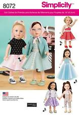 "SIMPLICITY SEWING PATTERN VINTAGE INSPIRED 18"" DOLLS CLOTHES DRESS TOP   8072"