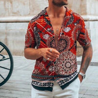Business Floral Mens Top Short Sleeve Luxury Formal Dress Shirts Fashion New