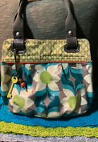 Fossil Key-per Aqua Multi-Color Floral Coated Canvas Magnetic Shoulder Bag Tote