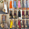 Plus Size Women Boho Cotton Linen Sleeveless V-neck Baggy Kaftan Long Maxi Dress