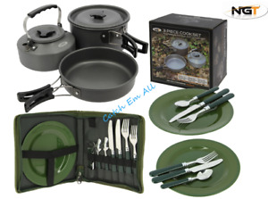 NGT 3 Piece Cook Set with Cutlery Carp Fishing Camping Outdoor Cooking