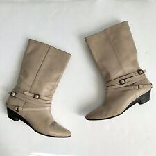 Frye Women's Calf Length Beige Leather Boots Buckle Wrap Detail Size 7M