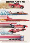 1983 BUDWEISER BEER -Funny Car Rocket Honcho Boat- DECORATIVE REPLICA METAL SIGN