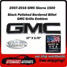 2007-2016 GMC Sierra 1500 Black Polished GMC Front Grille Emblem AMI 96501KP
