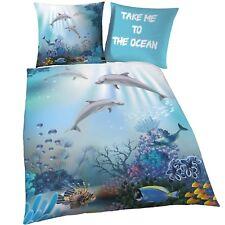 Delfin Biber/Flanell Kinder-Bettwäsche 80x80 + 135x200 cm - Delphin Meer Fische