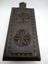 Slide Top Spice Incense Stash Box Hand Carved Wood 2 Compartments India 13 Inch