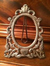 Small Ornate Silver Antique Picture Frame Marked 900 Oval Miniature No Glass