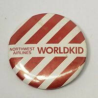 Vintage Pinback NORTHWEST AIRLINES WORLDKID Button Aviation Pin