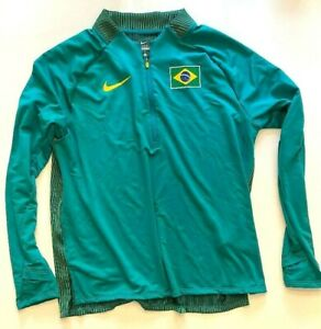 NWOT Nike Sponsored Brazil Brasil Tokyo Olympics 3/4 Zip Track Pullover WMS 3XL