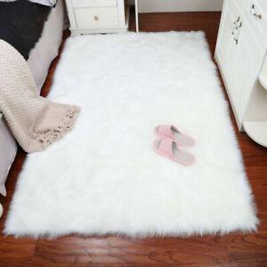 White Shaggy Carpet Floor Rug Ex-Large Plain Soft Sparkle Mat Thick Pile Fluffy