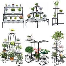 9 Tier Metal Plant Stand Garden Decor Planter Holder Flower Pot Shelf Rack Black