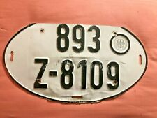 Vintage German Automobile Car Auto Big Oval License Plate Used Top Cut to Fit