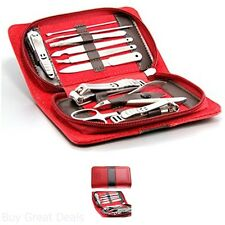Pueen Manicure Pedicure Kit Travel Grooming Gift Care Leather Case Zipper 11 Pc
