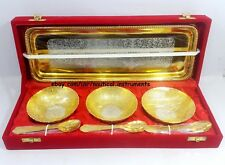 Silver & Gold Plated Brass Engraved Designer Bowl Set Christmas Gift GS3BSLTB
