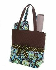 Belvah Quilted Floral 3 Pc Diaper Tote Bag Qf1103L(Brlm) Brown & Green
