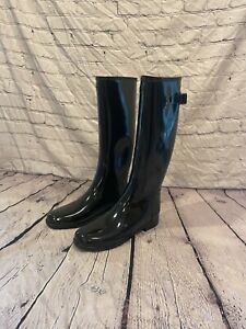 Hunter Womens Black Rubber Refined Gloss Tall Duo Pull On Rain Boots Size 11 NEW