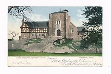 Cohasset MA Mass Saint Stephen's Church, steps in rocks, cross, antique postcard