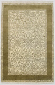 Floral Classic Design Cream 4X6 Hand Knotted Oriental Rug Foyer Decor Carpet