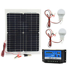 20W 12V Mono Solar Panel Battery + 10A PWM Controller + 2pcs LED Lamp Bulbs Kit