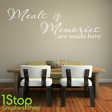MEALS AND MEMORIES WALL STICKER QUOTE - KITCHEN HOME WALL ART DECAL X302
