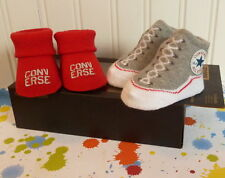 2 PAIRS RED & GREY CONVERSE HIGH TOPS CHUCK TAYLOR ALL STARS BABY BOOTIES