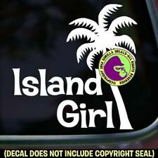ISLAND GIRL Palm Tree Vinyl Decal Sticker Hawaii Car Window Wall Laptop Sign