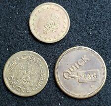 "Vintage ""No Cash Value"" tokens. Eagle, Chuck-E-Cheese, Quick Tag."
