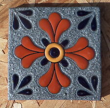 """8~Talavera Mexican 4"""" tile kiln fired hand painted Hi Relief Silver Pewter cross"""