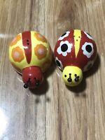 Ladybug Garden Colorful Ceramic Salt & Pepper Shakers