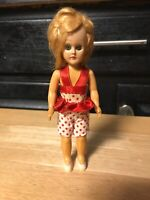 """Antique Hard Plastic Closing Eyes Doll 6"""" Blonde Hair Movable Arms and Head"""