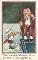 VINTAGE ENGLAND COMIC HOW MUCH MONEY do you give PERCY GIRL & DOG POSTCARD