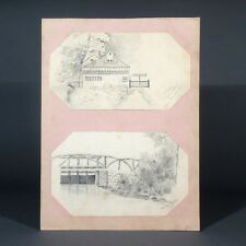 Antique French Pencil Drawings, Landscape Studies, House, Canal Lock, 1892-1893