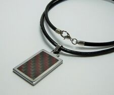 """Men Tungsten Red/Gray Carbon Fiber Pendant with 3mm Leather Necklace Cord 22"""""""