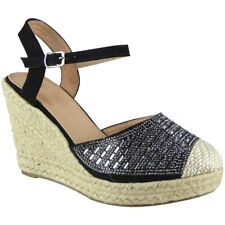 339ff772383e Womens Ladies Hessian Espadrilles Platform Shoes High Heel Wedge Sandals  Size UK 7   EU 40