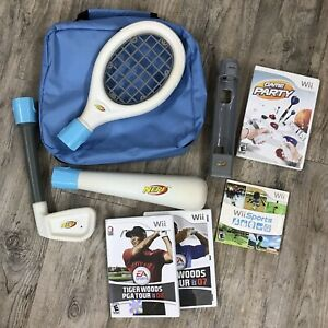 Wii Sports with Nerf Pack Carry Case Bundle Lot With Tiger Woods Golf