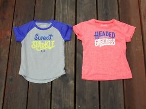 Under Armour Short Sleeve Shirts Girl's Size 4T Lot Of 2 SUPER CUTE