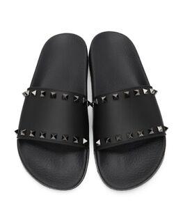 Valentino Garavani US 11 / 44 Blue Rubber Rockstud Slide Sandals New FW21