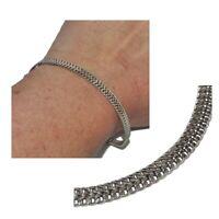 Bracelet en argent massif 925 maille plate chevron épi 18cm bijou