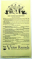 VICTOR RECORDS Catalogue August 1927 New Victor Race Records   2 pages Rare NM-