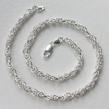 Italian Sterling Silver Byzantine Chain Necklace, Width 6mm, Length 26""