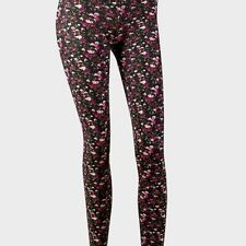 "New Pink floral leggings. Stretch  Cotton. xs  28"" inside leg"
