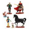Disney Mulan Set de 6 Figuras Estatuillas en Base Li Shang Khan Mushu Brother