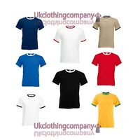 Fruit of the Loom Short Sleeve Ringer t-shirt Contrast Two Tone Top-S M L XL 2XL