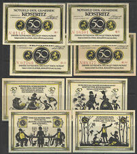 German NOTGELD KOSTRITZ #L715b Complete Set 4 UNC Catalog Value = $100+