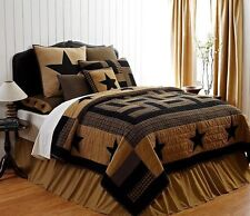 DELAWARE STAR 7pc KING QUILT SET : BLACK TAN PLAID PRIMITIVE LOG CABIN BEDDING