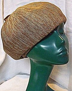 SMART VINTAGE SEMI STRUCTURED BERET HAT VERY CHIC CARAMEL TWEED WITH CORDED TAG