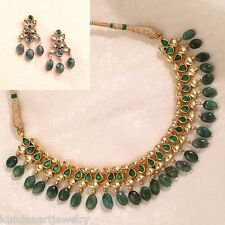 Gold Plated Kundan Jewelry Necklace with Earrings Green Bollywood Wedding Sets