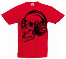 Calavera Auriculares Camiseta Niños 3 -13 Años Música Niños Regalo z1
